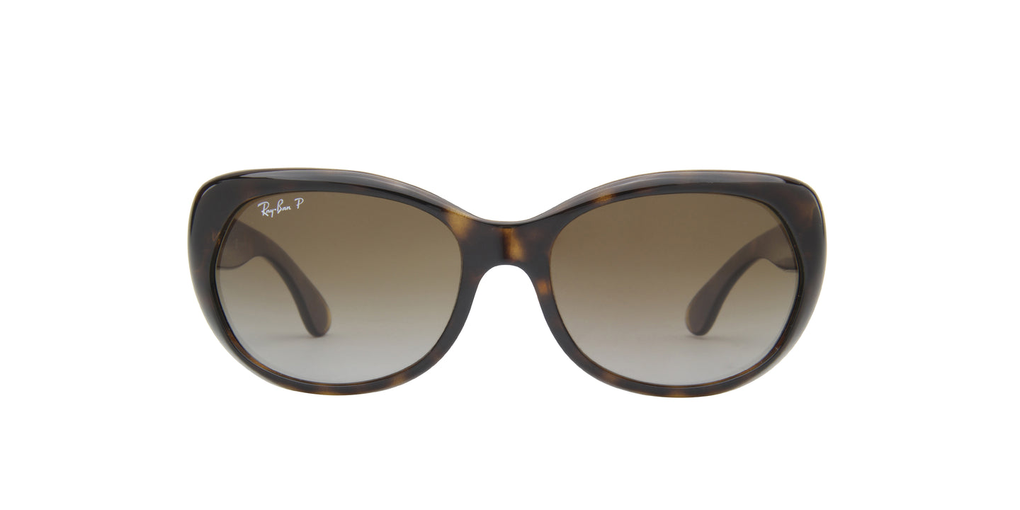 Ray Ban - RB4325 Havana/Light Grey to Brown Gradient Polarized Square Women Sunglasses - 59mm