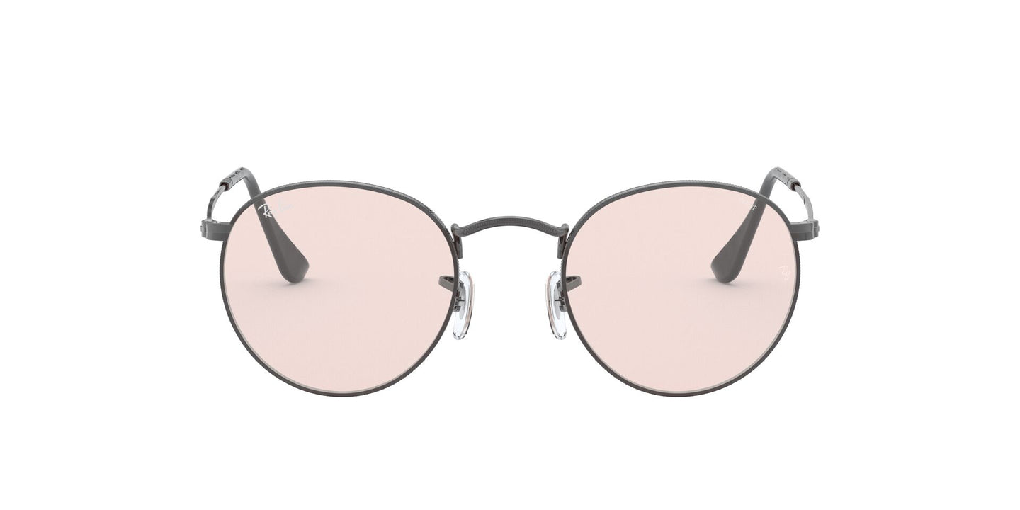 Ray Ban - Round Solid Evolve Gunmetal/Light Pink Round Men Sunglasses - 53mm