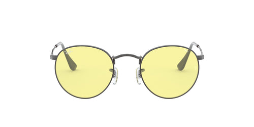 Ray Ban - Round Solid Evolve Gunmetal/Light Yellow Round Men Sunglasses - 53mm