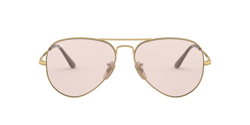 Ray Ban - Solid Evolve Gold/Light Pink Aviator Unisex Sunglasses - 58mm