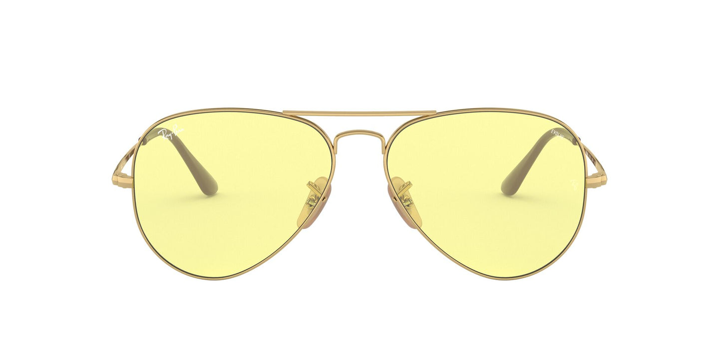 Ray Ban - Solid Evolve Gold/Light Yellow Aviator Unisex Sunglasses - 58mm