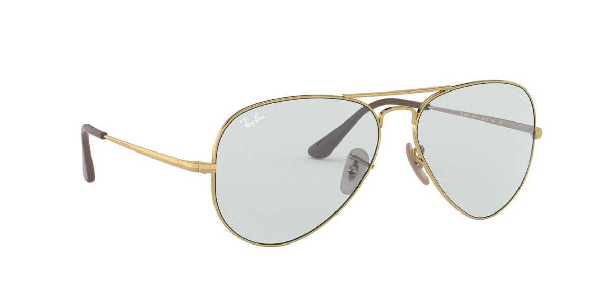 Ray Ban - Solid Evolve Gold/Light Blue Aviator Unisex Sunglasses - 58mm