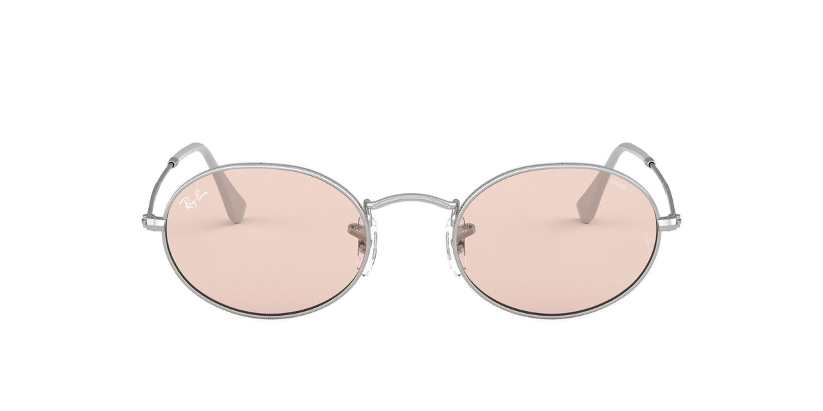 Ray Ban - Oval Solid Evolve Silver/Light Pink Oval Unisex Sunglasses - 54mm