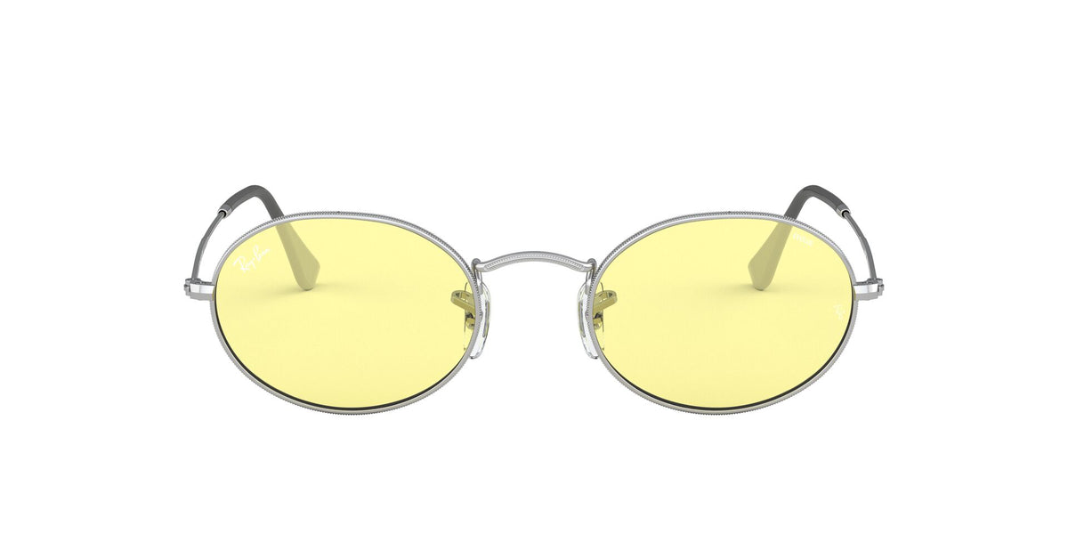 Ray Ban - Oval Solid Evolve Silver/Light Yellow Oval Unisex Sunglasses - 54mm
