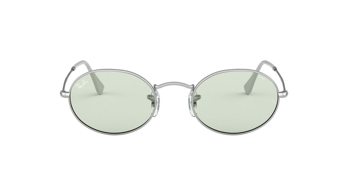 Ray Ban - Oval Solid Evolve Silver/Light Green Oval Unisex Sunglasses - 54mm