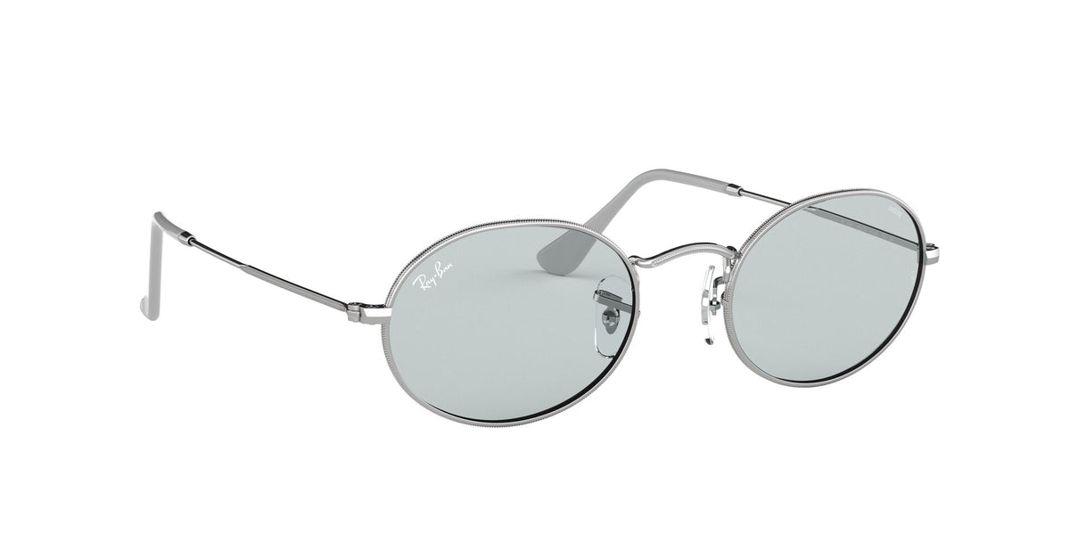 Ray Ban - Oval Solid Evolve Silver/Light Blue Oval Unisex Sunglasses - 54mm