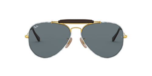 Ray Ban - Outdoorsman Craft Gold/Dark Grey Aviator Men Sunglasses - 58mm