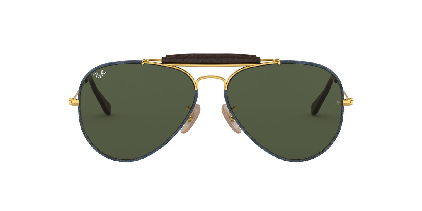 Ray Ban - Outdoorsman Craft Gold/Green Aviator Men Sunglasses - 58mm