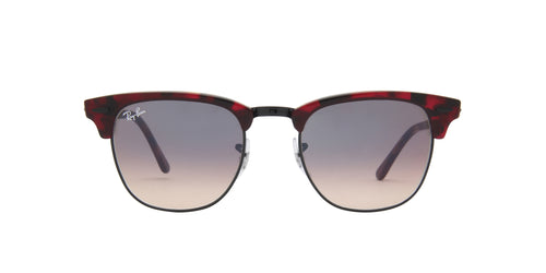 Ray Ban - Clubmaster Top Trasparent Red On Havana Oval Unisex Sunglasses - 49mm