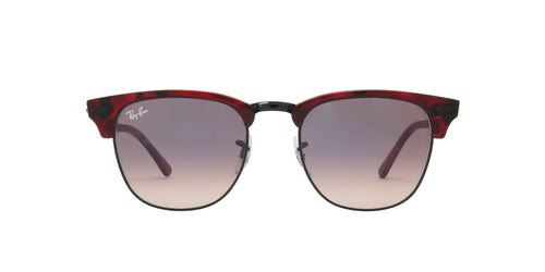 Ray Ban - Clubmaster Top Trasparent Red On Havana Oval Unisex Sunglasses - 51mm