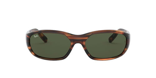 Ray Ban - Daddy-O II Stripped Red Havana/Green Rectangular Unisex Sunglasses - 59mm