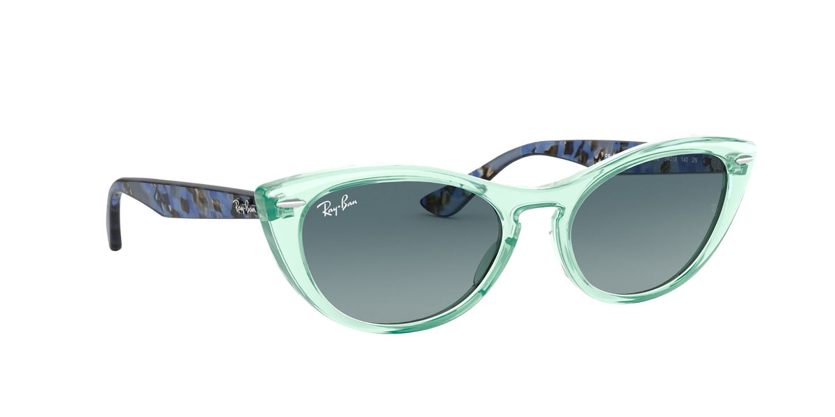 Ray Ban - Nina Trasparent Green/Blue  Grey Cat Eye Women Sunglasses - 54mm