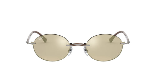 Ray Ban - RB8060 Grey/Light Brown Gold Mirror Oval Unisex Sunglasses - 54mm