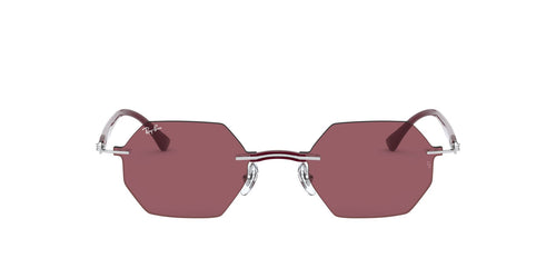 Ray Ban - RB8061 Silver/Dark Violet Oval Unisex Sunglasses - 53mm