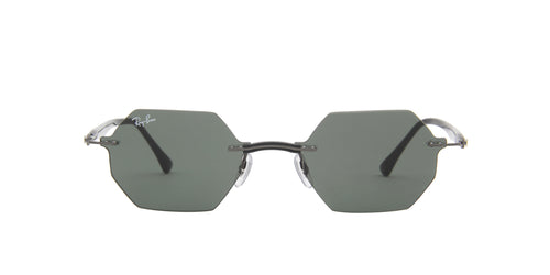 Ray Ban - RB8061 Dark Gunmetal/Dark Green Oval Unisex Sunglasses - 53mm