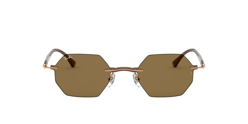 Ray Ban - RB8061 Light Brown/Dark Brown Oval Unisex Sunglasses - 53mm