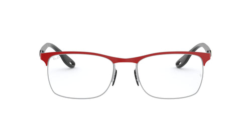 Ray Ban Rx - RX8416M Top Matte Red Ferrari On Silve Square Men Eyeglasses - 54mm