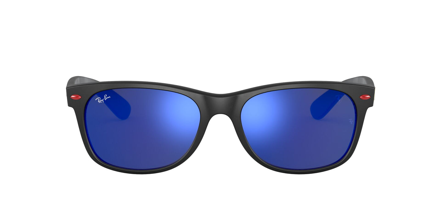 Ray Ban - New Wayfarer Matte Black/Green Blue Mirror Unisex Sunglasses - 55mm