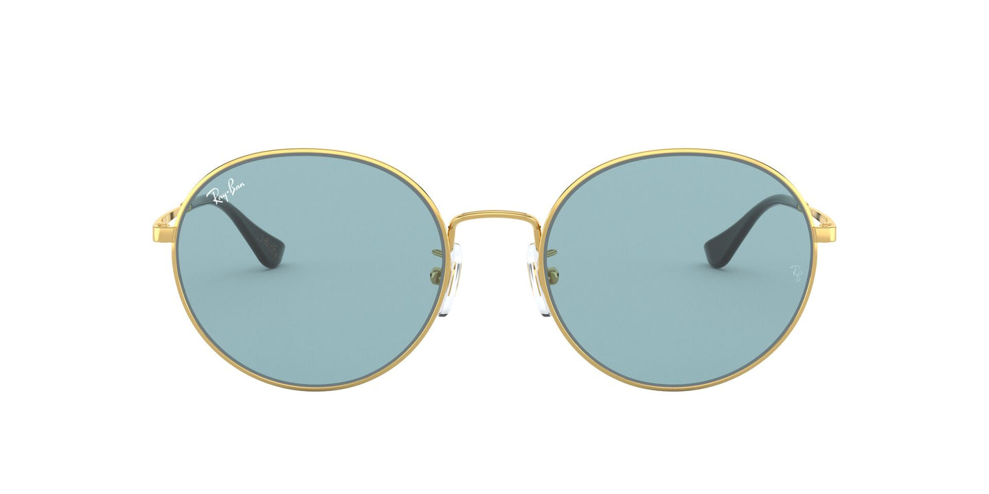 Ray Ban - RB3612 Gold/Light Blue Round Unisex Sunglasses - 56mm