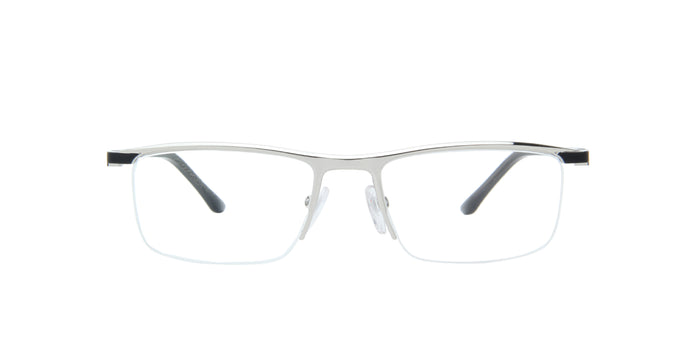 Starck - SH2049 Matte Black Silver/Demo Lens Rectangular Men Eyeglasses - 54mm
