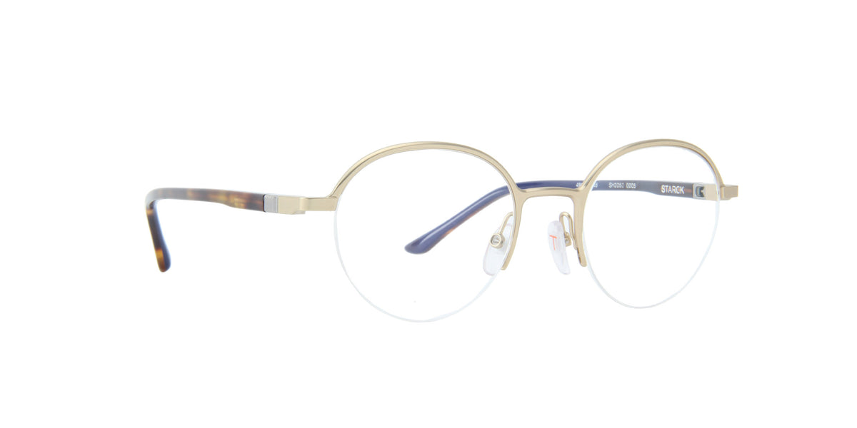 Starck - SH2050 Matte Light Gold/Demo Lens Round Men Eyeglasses - 49mm