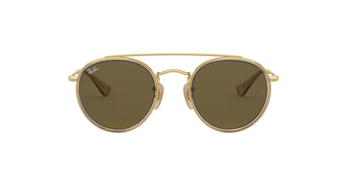 Ray Ban Jr - Round Double Bridge Gold/Brown Round Unisex Sunglasses - 46mm