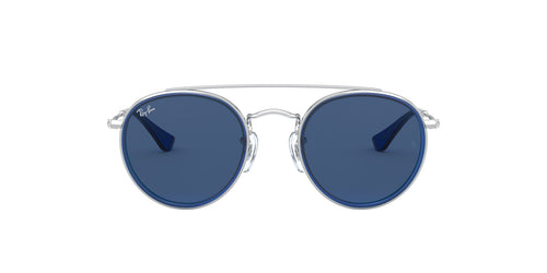 Ray Ban Jr - Round Double Bridge Silver/Blue Round Unisex Sunglasses - 46mm