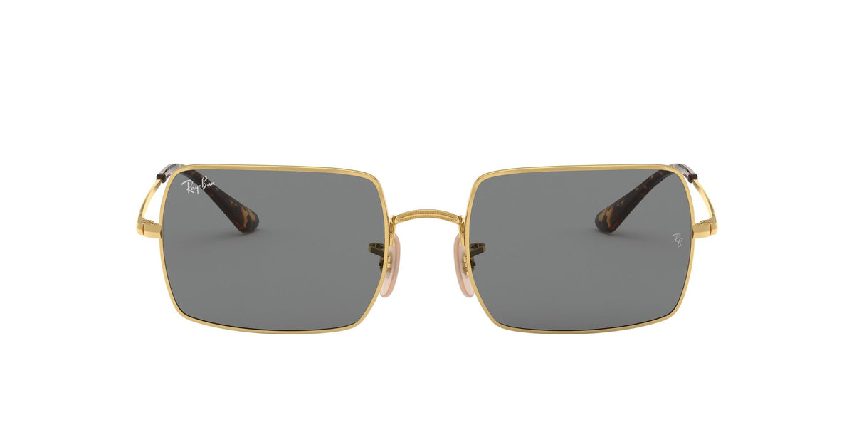 Ray Ban - Rectangle 1969 Gold/Dark Grey Rectangle Unisex Sunglasses - 54mm