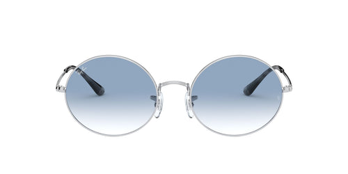 Ray Ban - Oval 1970 Silver/Clear to Blue Gradient Rectangle Unisex Sunglasses - 54mm