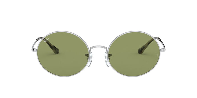 Ray Ban - Oval 1970 Silver/Bottle Green Oval Unisex Sunglasses - 54mm