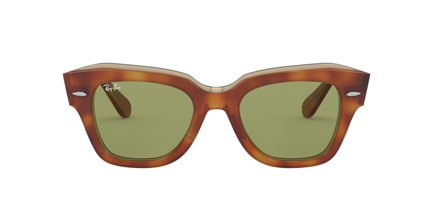 Ray Ban - State Street Light Havana On Trasp Yellow/Bottle Green Square Unisex Sunglasses - 49mm