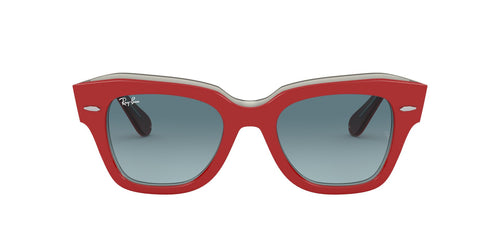 Ray Ban - State Street Red On Transparent Grey Square Unisex Sunglasses - 49mm