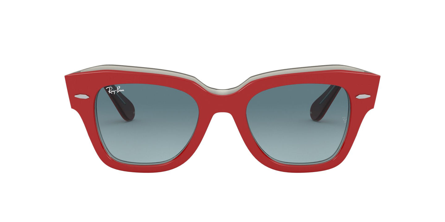 Ray Ban - State Street Red On Trasparent Grey/Blue to Grey Gradient Square Unisex Sunglasses - 49mm