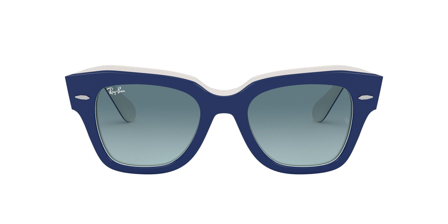 Ray Ban - State Street Blue On White/Blue to Grey Gradient Square Unisex Sunglasses - 49mm