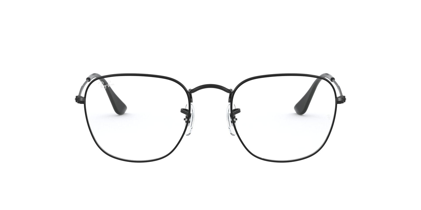 Ray Ban Rx - Frank Shiny Black Square Unisex Eyeglasses - 51mm