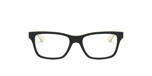 Ray Ban Jr - RY1536 Top Black On White/Green Square Unisex Eyeglasses - 48mm