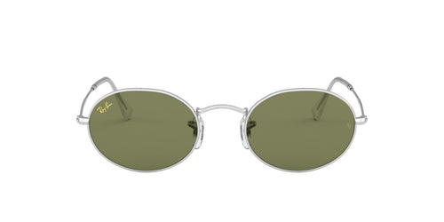 Ray Ban - Oval Flat Lenses Silver Oval Unisex Sunglasses - 54mm