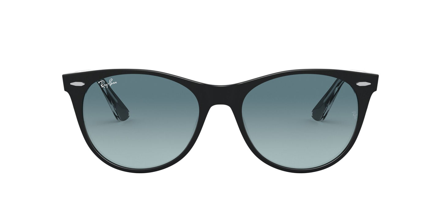 Ray Ban - Wayfarer II Black On Trasparent/Blue to Grey Gradient Unisex Sunglasses - 55mm