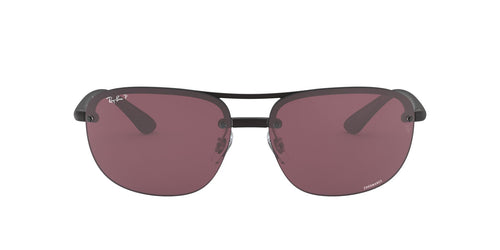 Ray Ban - Chromance Matte Black/Purple Polarized Square Men Sunglasses - 63mm