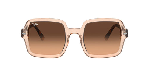 Ray Ban - RB2188 Transparent Light Brown/Light Brown to Black Gradient Square Women Sunglasses - 53mm