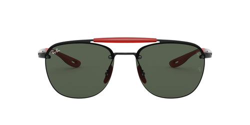 Ray Ban - Scuderia Ferrari Black/Dark Green Square Men Sunglasses - 59mm