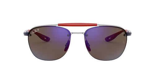 Ray Ban - Scuderia Ferrari Silver Square Men Sunglasses - 59mm