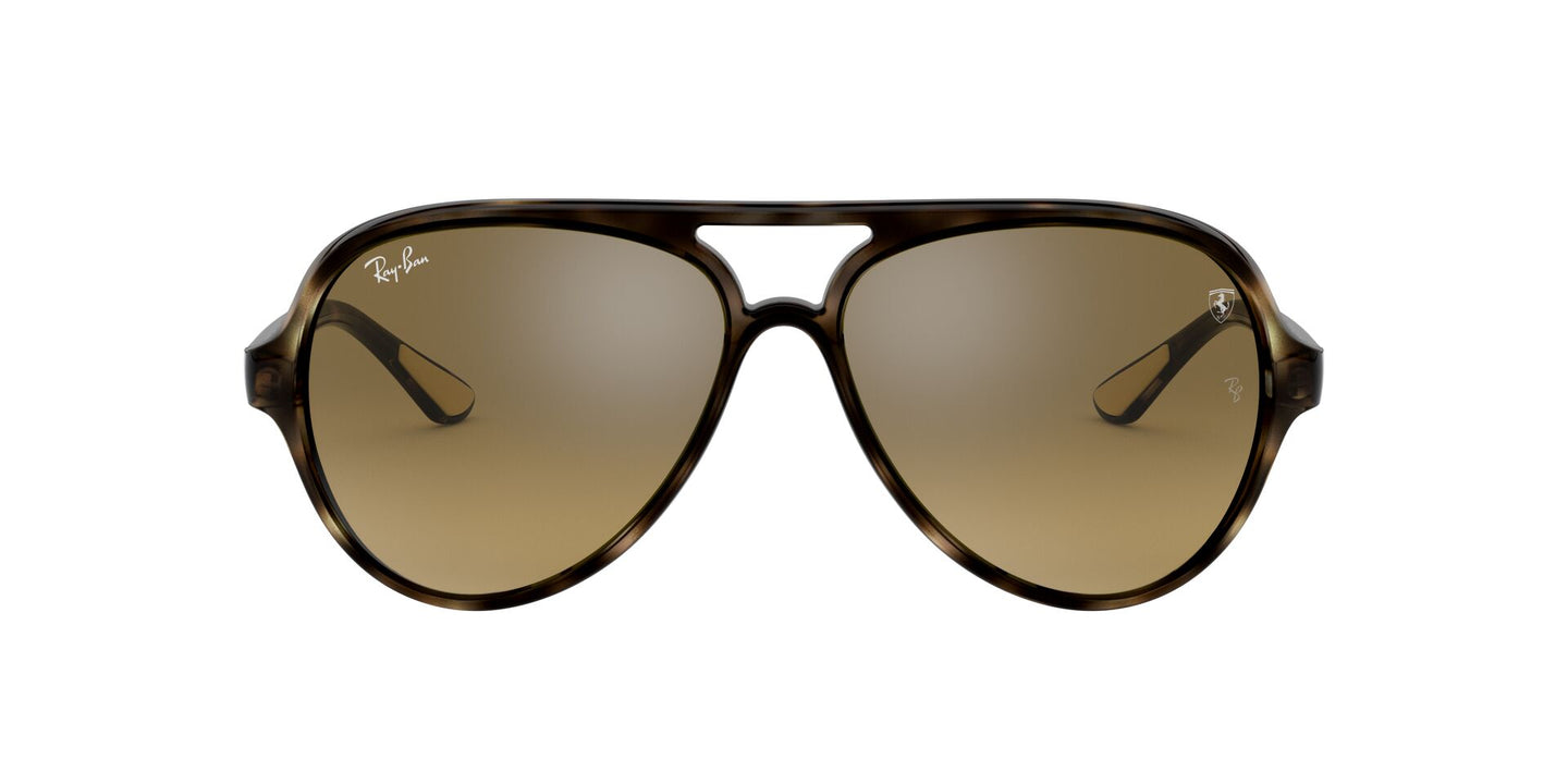 Ray Ban - Scuderia Ferrari Havana/Brown Mirror Gradient Grey Aviator Unisex Sunglasses - 57mm