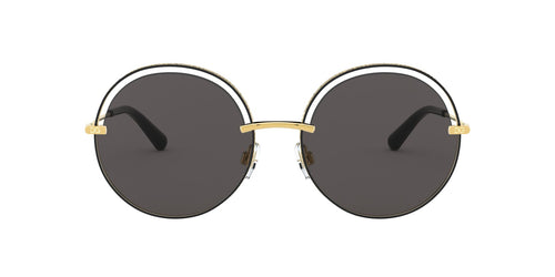 Dolce Gabbana - DG2262 Gold Black/Grey Round Women Sunglasses - 58mm
