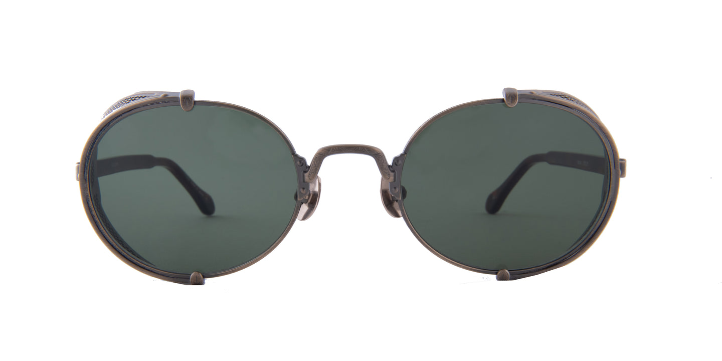Matsuda - 10610H Antique Gold/Green Mirror Oval Unisex Sunglasses - 51mm
