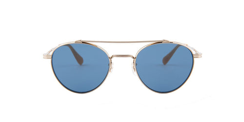 Oliver Peoples - Watts Sun Gold Oval Unisex Sunglasses - 49mm