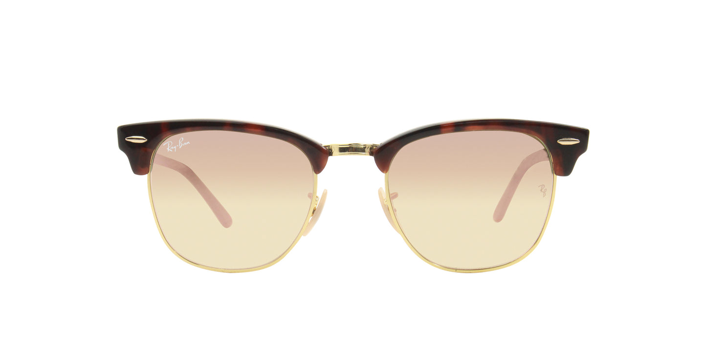 Ray Ban - Clubmaster Tortoise/Red Mirror Oval Unisex Sunglasses - 51mm