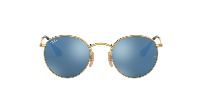 Ray Ban - Round Flat lenses Gold/Blue Mirror Oval Unisex Sunglasses - 50mm