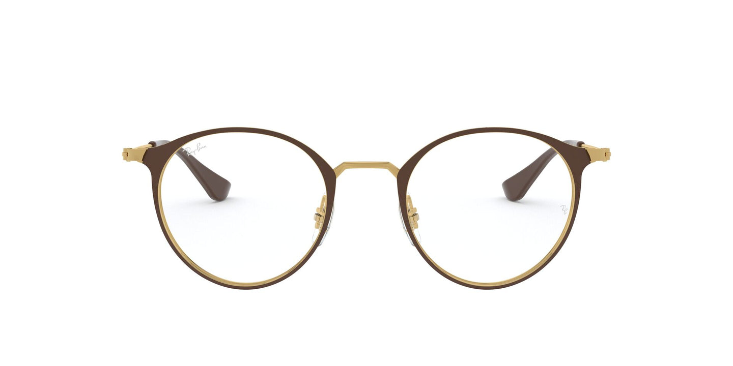 Ray Ban Rx - RX6378 Gold - Shiny Brown Phantos Unisex Eyeglasses - 47mm