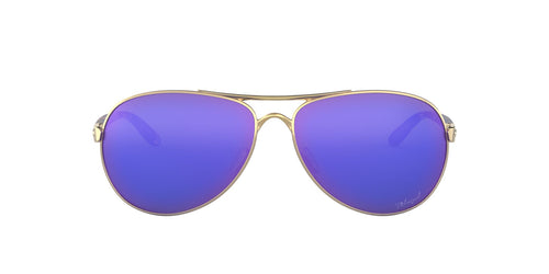 Oakley - Feedback Polished Gold/Violet Irid Polarized Aviator Women Sunglasses - 59mm
